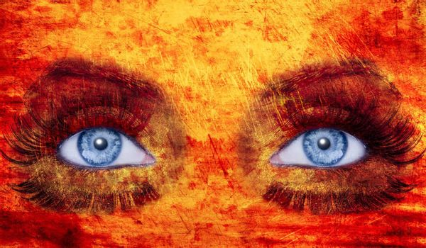 abstract blue eyes makeup woman texture red yellow fire colors