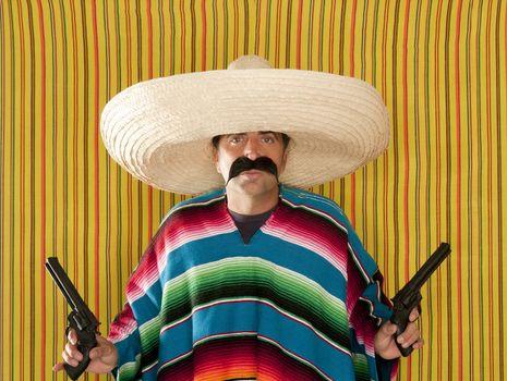 Bandit Mexican revolver mustache gunman sombrero