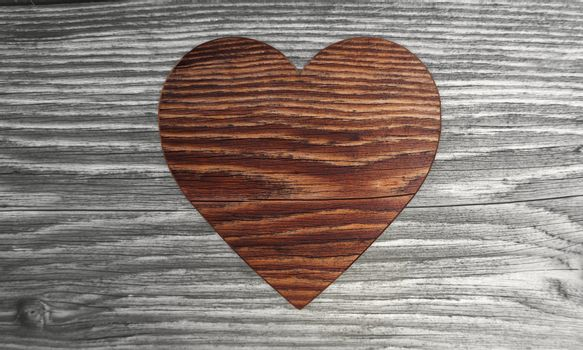 3D graphic Sustainable heart symbol  in a wooden textured  background