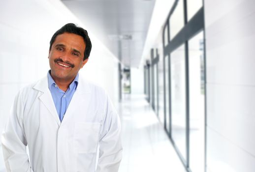 Indian latin doctor expertise smiling in hospital