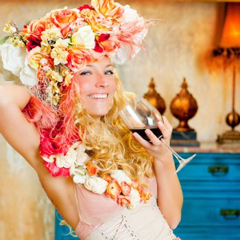 baroque fashion blond womand drinking red wine