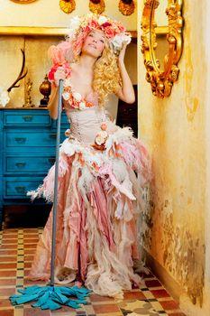 baroque fashion blonde housewife woman mop chores