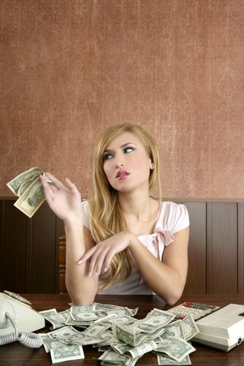 ambition retro woman lots of dollar money notes