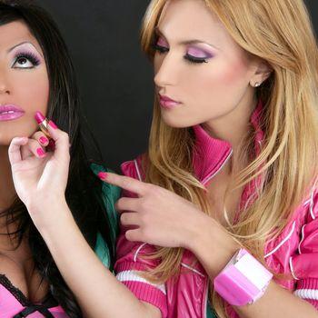 Lipstick fashion girls barbie doll makeup retro 1980s blonde brunette