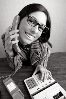 Retro secretary wide angle humor telephone woman
