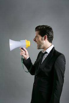 bullhorn businessman megaphone profile shouting
