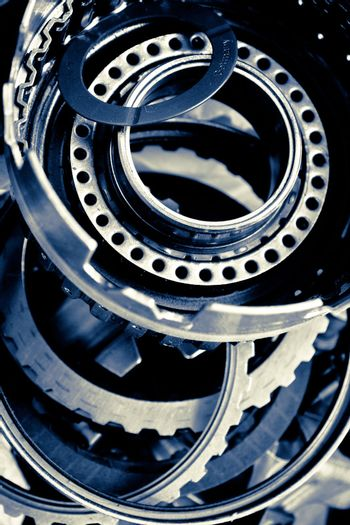 close up of automobile gear assembly