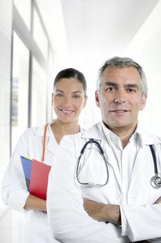 expertise gray hair doctor beautiful nurse hospital