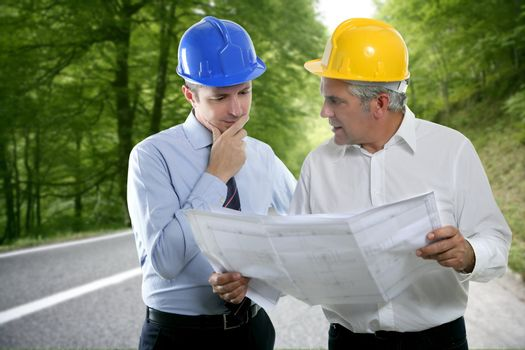 engineer architect two expertise plan hardhat forest road