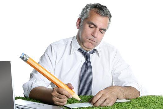businessman sign bank check humor gesture big pencil