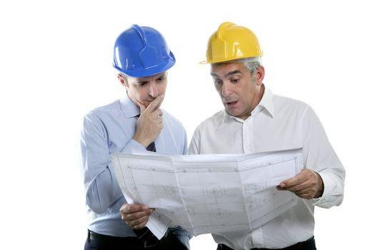 engineer architect two expertise team plan hardhat