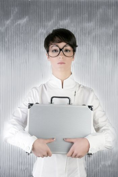 funny humor businesswoman silver briefcase