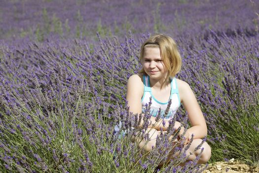 little girl in a lavender field