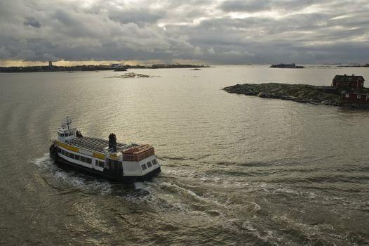 The walking ship in harbour of Helsinki