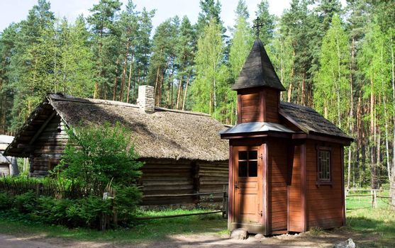 Wooden church in Latvian Ethnographic Open Air Museum