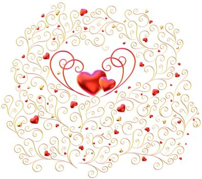 Beautiful golden curls branches with expensive ruby red hearts as decorative jewelry