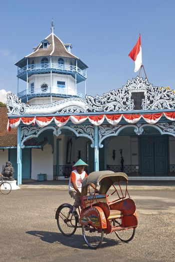 becak cyclo taxi in solo city indonesia
