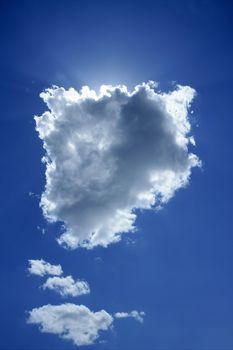 cloud on blue sky sun backlight light halo