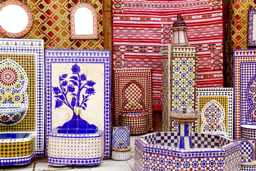 arab mosaic deco tiles and fabric decoration