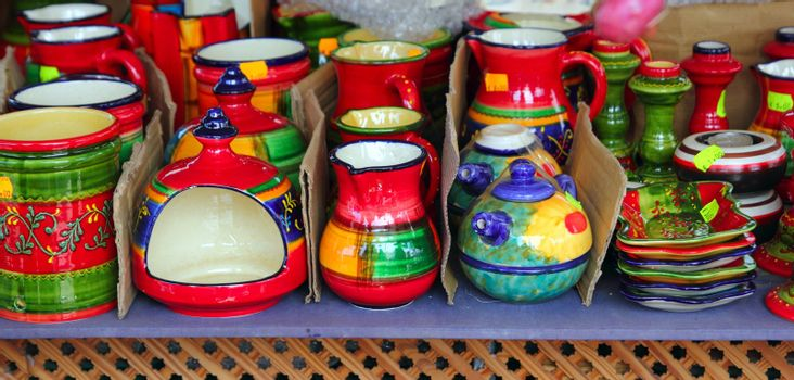colorful ceramics pottery painted vivid color clay
