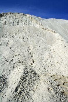 white sand mound quarry like moon landscape