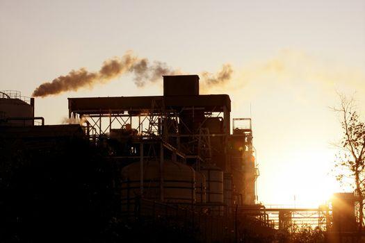 Backlight petrochemical industry smoke sky