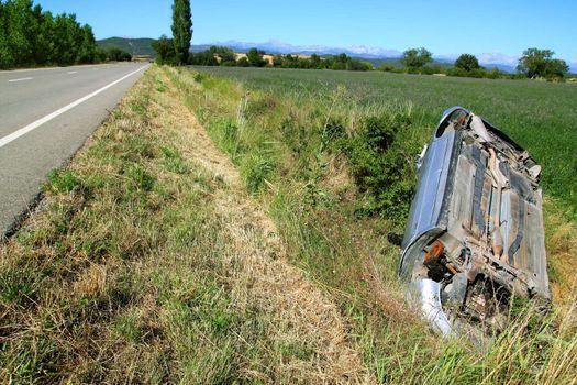 Car crash accident upside down vehicle