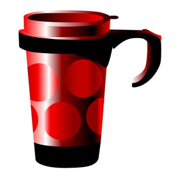 red metal cup with dots