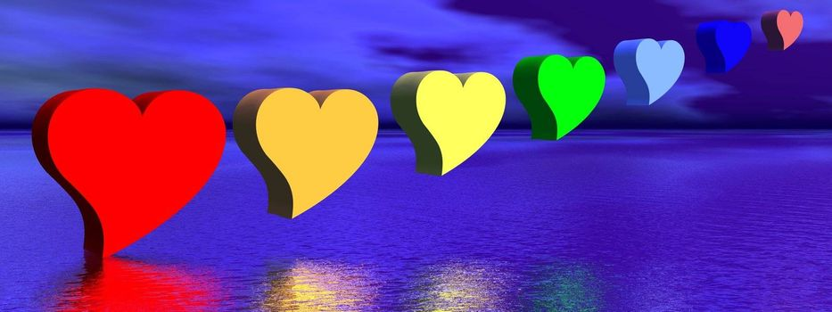 Heart for each color chakra upon water by night