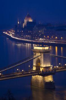 Budapest at night, Danube, Bridge, Hungary