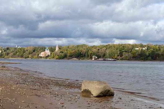 Volga River with cloudy sky