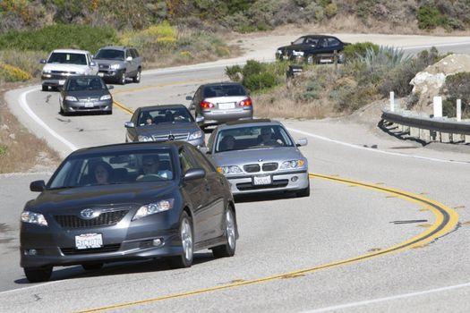 Winding highway on California coast.