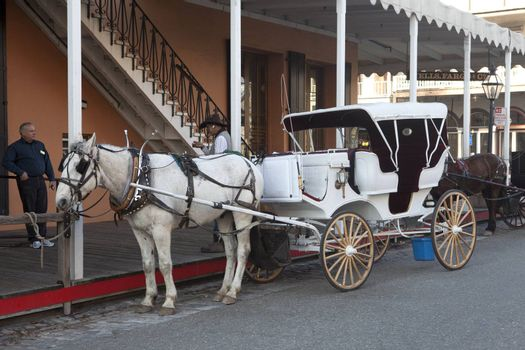 Old Sacramento horse drawn carriage for giving rides to tourists.