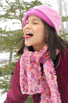 Child enjoying winter