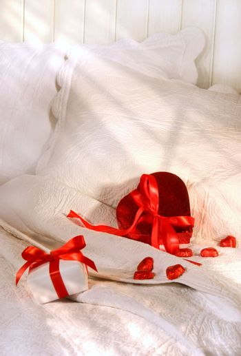 Gifts on a bed for Valintine's Day