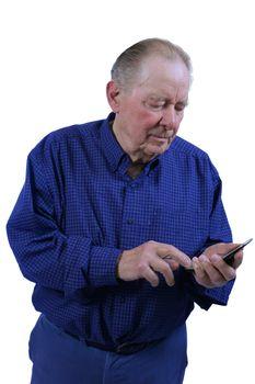 Elderly man dialing cell phone