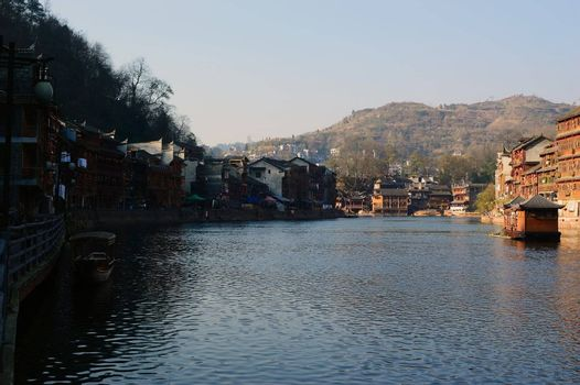 River landscapes in Fenghuang town, Hunan province of China