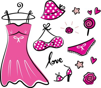 Vector doodle set of pink fashion accessories or items for woman.