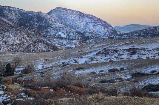 winter dusk at mountain valley
