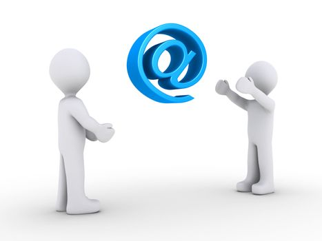 One person is throwing e-mail symbol to another