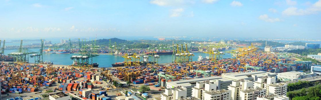 Singapore, Republic of Singapore - March 07, 2013: Singapore industrial port. It is the world's busiest port in terms of total shipping tonnage, it tranships a fifth of the world's shipping containers.