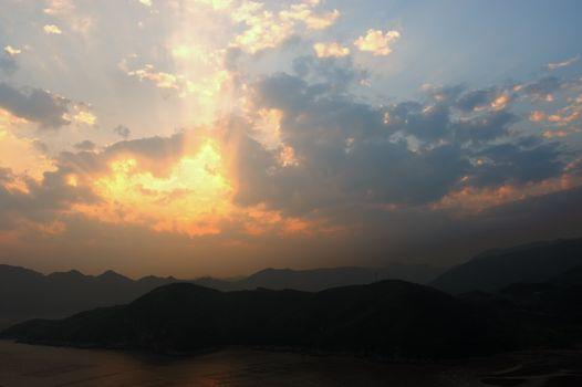 Seaside landscape at sunset in Xiapu, Fujian province, China