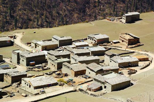 China Tibetan buildings in scenic spot of Yading, Daocheng county, Sichuan province, China