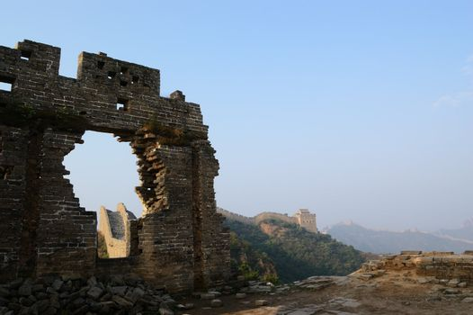 Dilapidated Great Wall of China in Jinshanling, Hebei Province, China