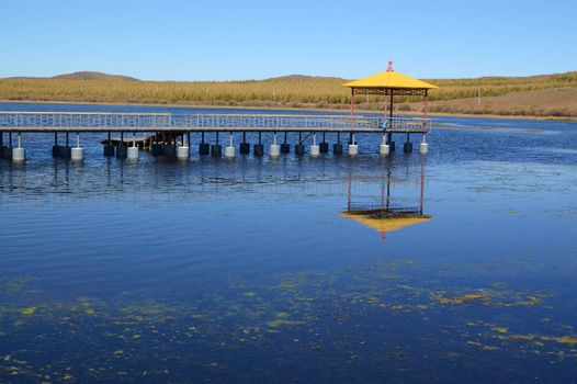 Lake landscape in Bashang grassland, Hebei province, China