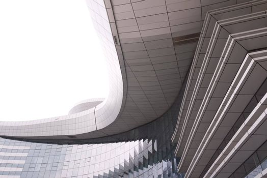 Modern building exterior on white background