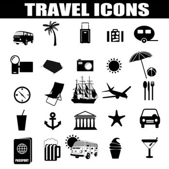 Travel icons set on white background, vector illustration