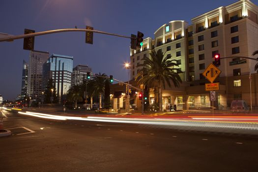 View of Capital Mall street going from West Sacramento towards the Capital building.
