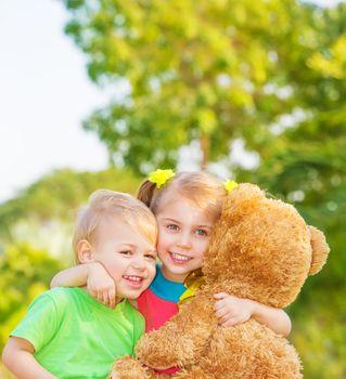 Happy children on backyard