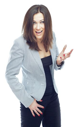 Smiling businesswoman on a white background